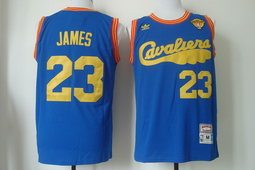 Men's Cleveland Cavaliers #23 LeBron James 2017 The NBA Finals Patch 2009 Blue Hardwood Classics Soul Swingman Throwback Jersey