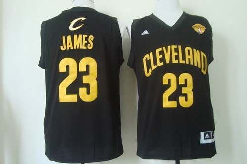 Men's Cleveland Cavaliers #23 LeBron James 2017 The NBA Finals Patch Black With Gold Swingman Jersey