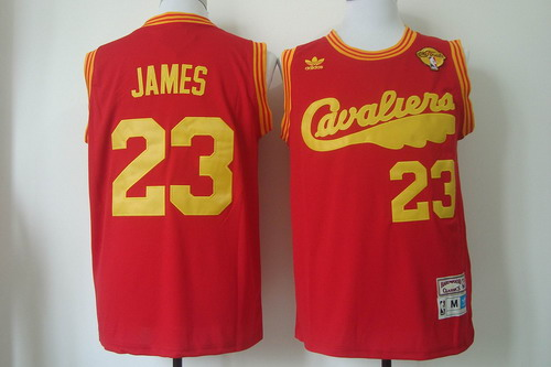 Men's Cleveland Cavaliers #23 LeBron James 2017 The NBA Finals Patch 2009 Red Hardwood Classics Soul Swingman Throwback Jersey