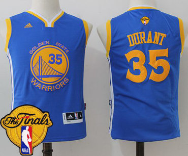 Youth Warriors #35 Kevin Durant Blue 2017 The Finals Patch Stitched NBA Jersey
