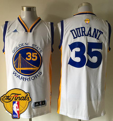 Men's Warriors #35 Kevin Durant White Home 2017 The Finals Patch Stitched NBA Jersey