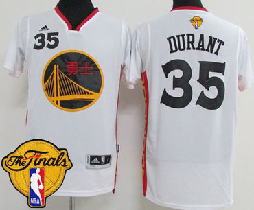 Men's Warriors #35 Kevin Durant White 2017 Chinese New Year The Finals Patch Stitched NBA Jersey