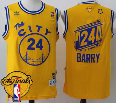 Men's Warriors #24 Rick Barry Gold Throwback The City 2017 The Finals Patch Stitched NBA Jersey