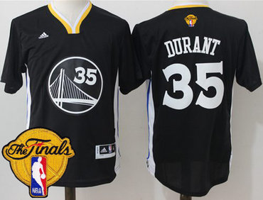 Men's Warriors #35 Kevin Durant Black Slate 2017 The Finals Patch Stitched NBA Jersey