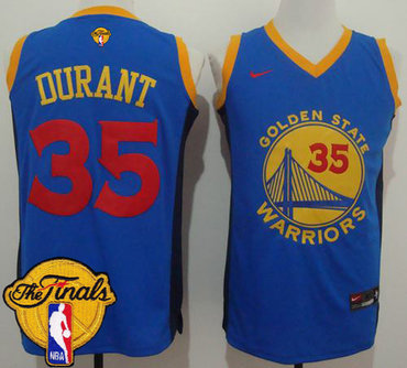 Men's Warriors #35 Kevin Durant Blue Red No. Fashion 2017 The Finals Patch Stitched NBA Jersey