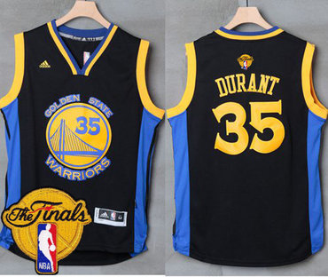 Men's Warriors #35 Kevin Durant Black Blue 2017 The Finals Patch Stitched NBA Jersey