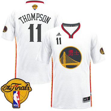 Men's Warriors #11 Klay Thompson White 2017 Chinese New Year The Finals Patch Stitched NBA Jersey