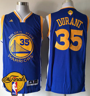 Men's Warriors #35 Kevin Durant Blue Road 2017 The Finals Patch Stitched NBA Jersey