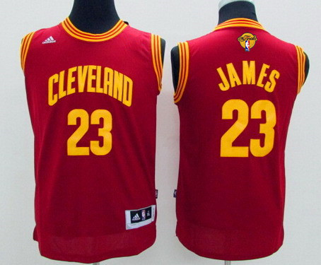 Youth Cleveland Cavaliers #23 LeBron James Red 2017 The NBA Finals Patch Jersey