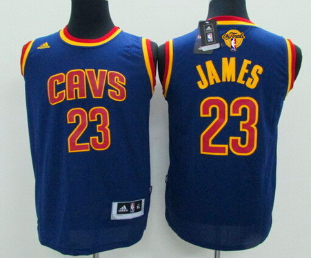 Youth Cleveland Cavaliers #23 LeBron James Navy Blue 2017 The NBA Finals Patch Jersey