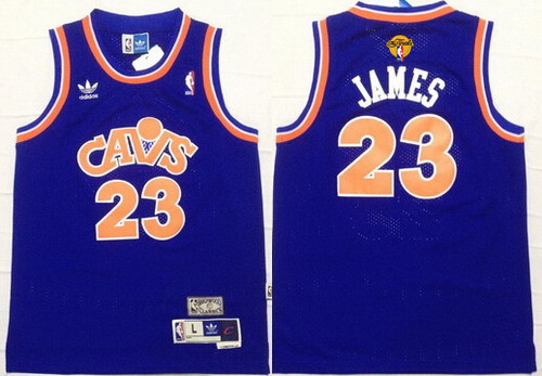 Youth Cleveland Cavaliers #23 LeBron James Blue Throwback 2017 The NBA Finals Patch Jersey