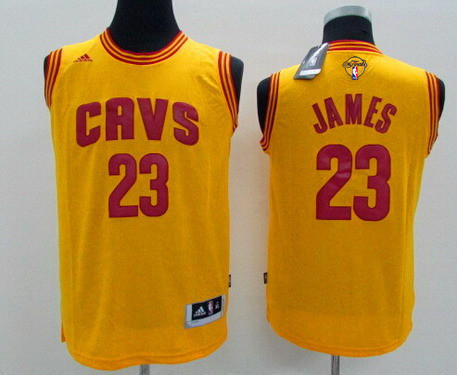Youth Cleveland Cavaliers #23 LeBron James Yellow 2017 The NBA Finals Patch Jersey