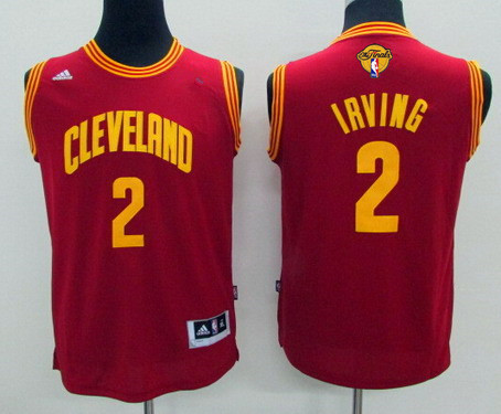 Youth Cleveland Cavaliers #2 Kyrie Irving Red 2017 The NBA Finals Patch Jersey