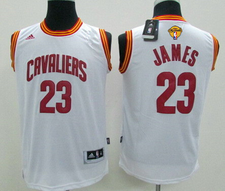 Youth Cleveland Cavaliers #23 LeBron James White 2017 The NBA Finals Patch Jersey