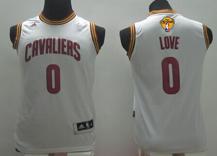 Youth Cleveland Cavaliers #0 Kevin Love White 2017 The NBA Finals Patch Jersey