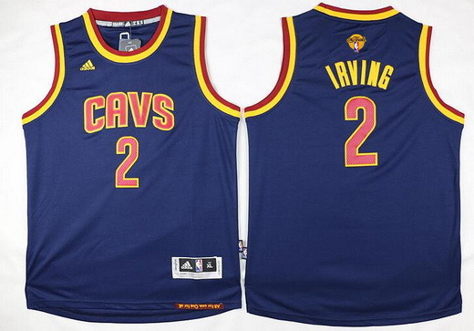 Youth Cleveland Cavaliers #2 Kyrie Irving Navy Blue 2017 The NBA Finals Patch Jersey