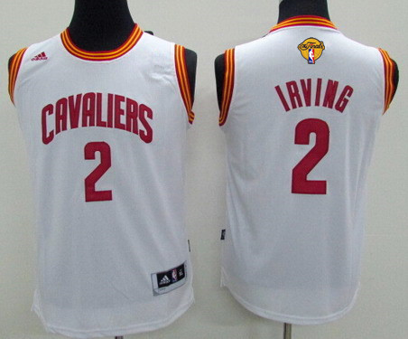 Youth Cleveland Cavaliers #2 Kyrie Irving White 2017 The NBA Finals Patch Jersey