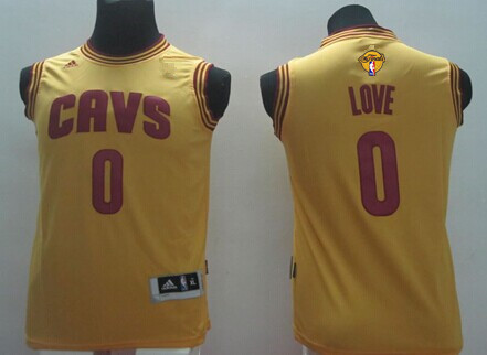 Youth Cleveland Cavaliers #0 Kevin Love Yellow 2017 The NBA Finals Patch Jersey