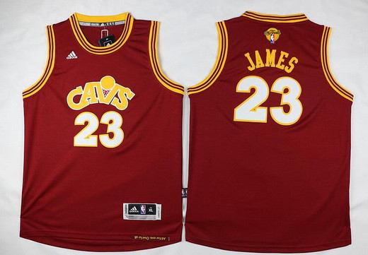 Youth Cleveland Cavaliers #23 LeBron James Red Throwback 2017 The NBA Finals Patch Jersey