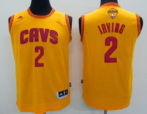 Youth Cleveland Cavaliers #2 Kyrie Irving Yellow 2017 The NBA Finals Patch Jersey