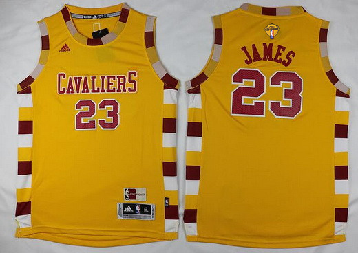 Youth Cleveland Cavaliers #23 LeBron James Yellow Throwback 2017 The NBA Finals Patch Jersey