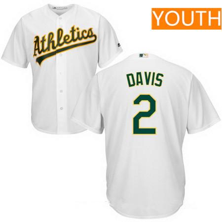 Youth Oakland Athletics #2 Khris Davis White Home Stitched MLB Majestic Cool Base Jersey