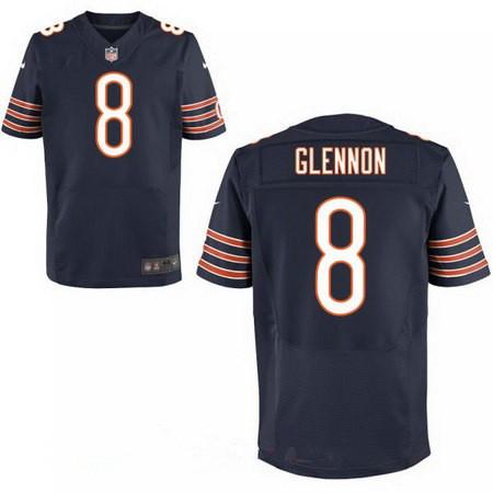Men's Chicago Bears #8 Mike Glennon Navy Blue Team Color Stitched NFL Nike Elite Jersey