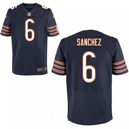 Men's Chicago Bears #6 Mark Sanchez Navy Blue Team Color Stitched NFL Nike Elite Jersey
