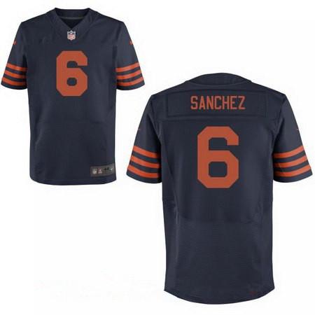 Men's Chicago Bears #6 Mark Sanchez Blue With Orange Alternate Stitched NFL Nike Elite Jersey