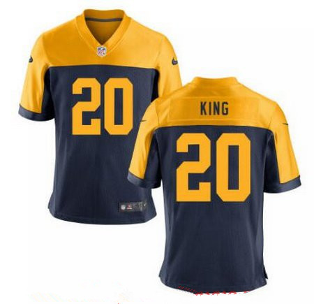 Men's 2017 NFL Draft Green Bay Packers #20 Kevin King Navy Blue Gold Alternate Stitched NFL Nike Elite Jersey