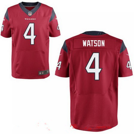 Men's 2017 NFL Draft Houston Texans #4 Deshaun Watson Red Team Color Stitched NFL Nike Elite Jersey