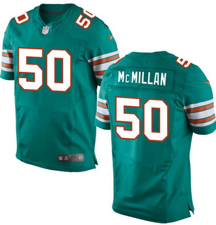 Men's 2017 NFL Draft Miami Dolphins #50 Raekwon McMillan Aqua Green Alternate Stitched NFL Nike Elite Jersey