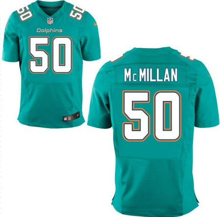 Men's 2017 NFL Draft Miami Dolphins #50 Raekwon McMillan Green Team Color Stitched NFL Nike Elite Jersey