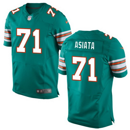 Men's 2017 NFL Draft Miami Dolphins #71 Isaac Asiata Aqua Green Alternate Stitched NFL Nike Elite Jersey