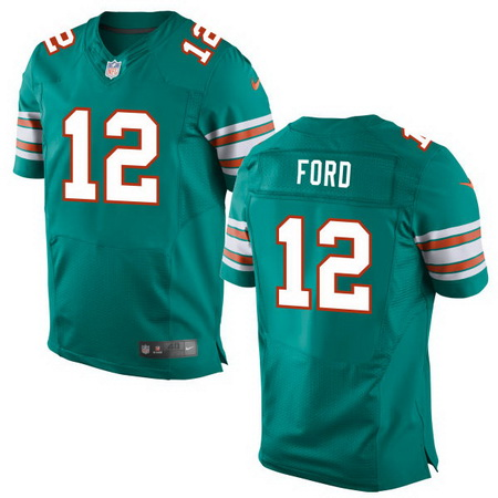 Men's 2017 NFL Draft Miami Dolphins #12 Isaiah Ford Aqua Green Alternate Stitched NFL Nike Elite Jersey
