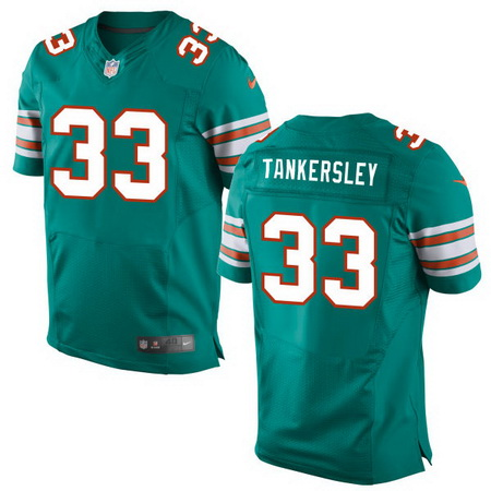 Men's 2017 NFL Draft Miami Dolphins #33 Cordrea Tankersley Aqua Green Alternate Stitched NFL Nike Elite Jersey