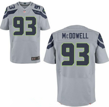 Men's 2017 NFL Draft Seattle Seahawks #93 Malik McDowell Gray Alternate Stitched NFL Nike Elite Jersey