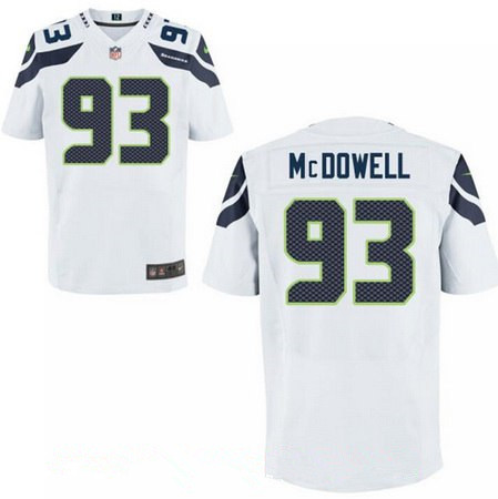 Men's 2017 NFL Draft Seattle Seahawks #93 Malik McDowell White Road Stitched NFL Nike Elite Jersey