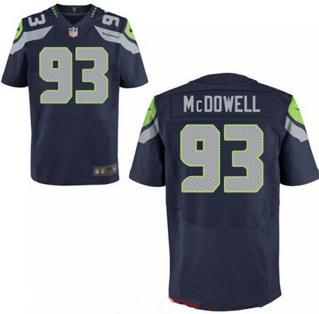 Men's 2017 NFL Draft Seattle Seahawks #93 Malik McDowell Navy Blue Team Color Stitched NFL Nike Elite Jersey