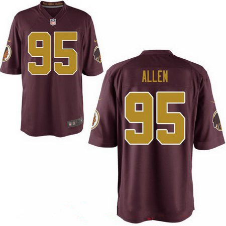 Men's 2017 NFL Draft Washington Redskins #95 Jonathan Allen Red with Gold Alternate Stitched NFL Nike Elite Jersey