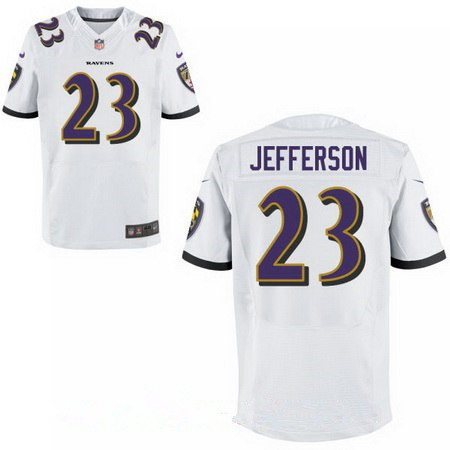 Men's Baltimore Ravens #23 Tony Jefferson White Road Stitched NFL Nike Elite Jersey
