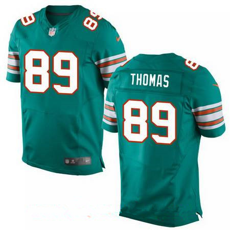 Men's Miami Dolphins #89 Julius Thomas Aqua Green Alternate Stitched NFL Nike Elite Jersey