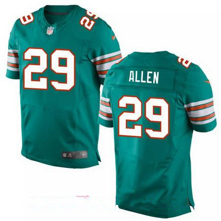 Men's Miami Dolphins #29 Nate Allen Aqua Green Alternate Stitched NFL Nike Elite Jersey