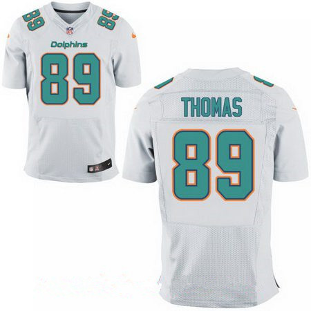 Men's Miami Dolphins #89 Julius Thomas White Road Stitched NFL Nike Elite Jersey