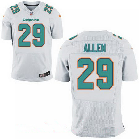 Men's Miami Dolphins #29 Nate Allen White Road Stitched NFL Nike Elite Jersey