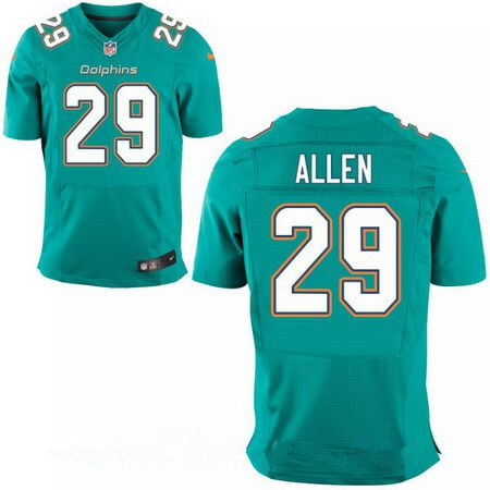 Men's Miami Dolphins #29 Nate Allen Green Team Color Stitched NFL Nike Elite Jersey