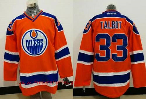 Men's Edmonton Oilers #33 Cam Talbot Orange Stitched NHL Reebok Hockey Jersey