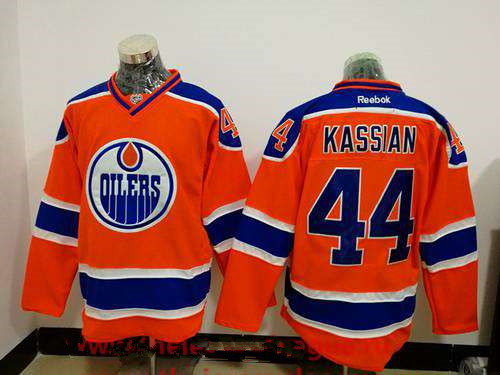 Men's Edmonton Oilers #44 Zack Kassian Orange Stitched NHL Reebok Hockey Jersey