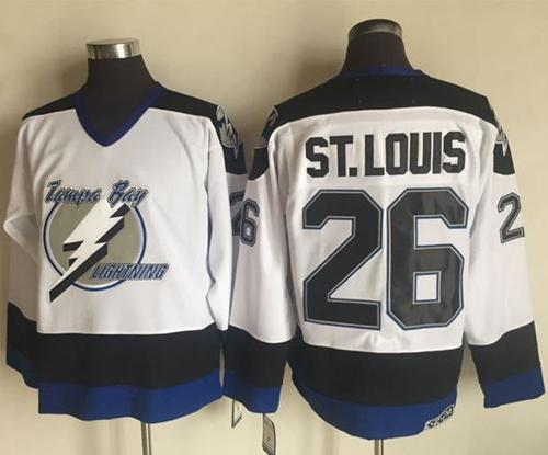 Men's Tampa Bay Lightning #26 Martin St. Louis White 2003-04 Throwback Stitched NHL CCM Vintage Jersey