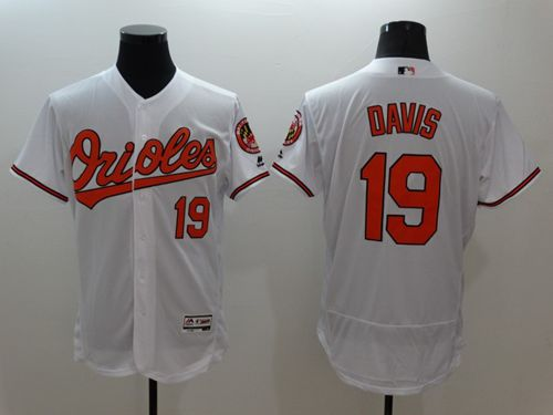 Men's BaltimoreOrioles #19 Chris Davis White Flexbase Authentic Collection Stitched MLB Jersey